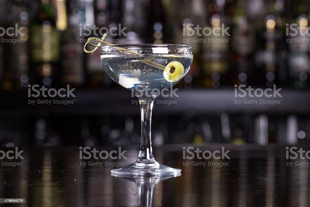 Dirty martini cocktail stock photo