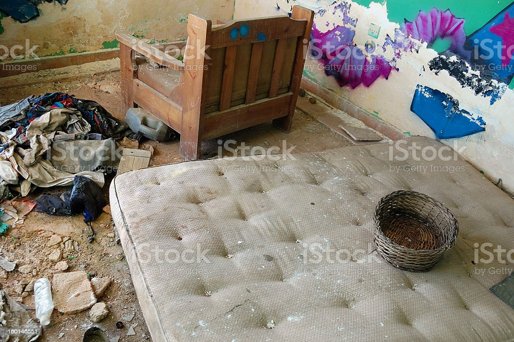 dirty mattress in abandoned house stock photo