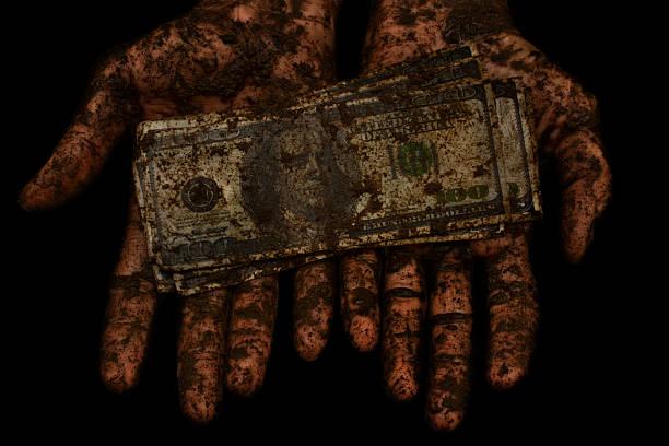 dirty money is not clean hands - dirty money bildbanksfoton och bilder