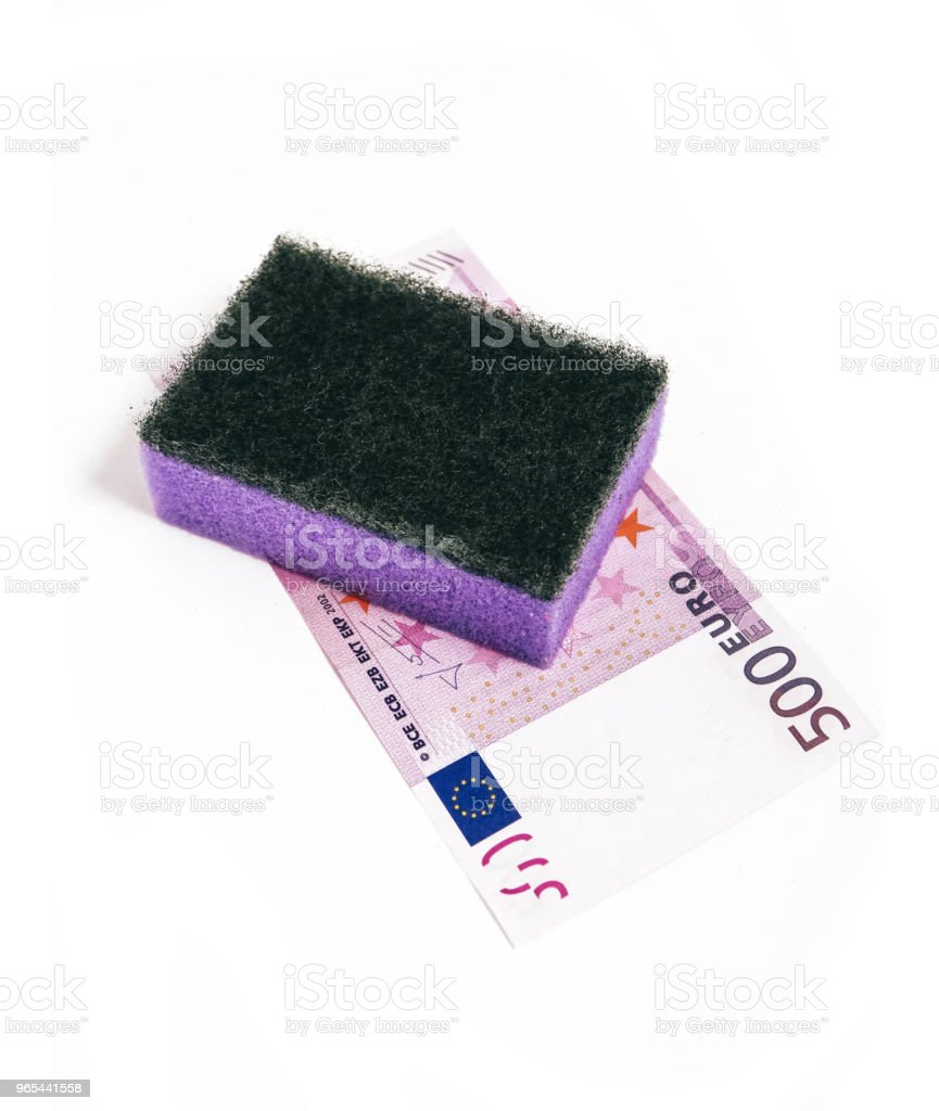 Dirty money wash laundry, corruption concept. Euro money cleaning with washing sponge. royalty-free stock photo