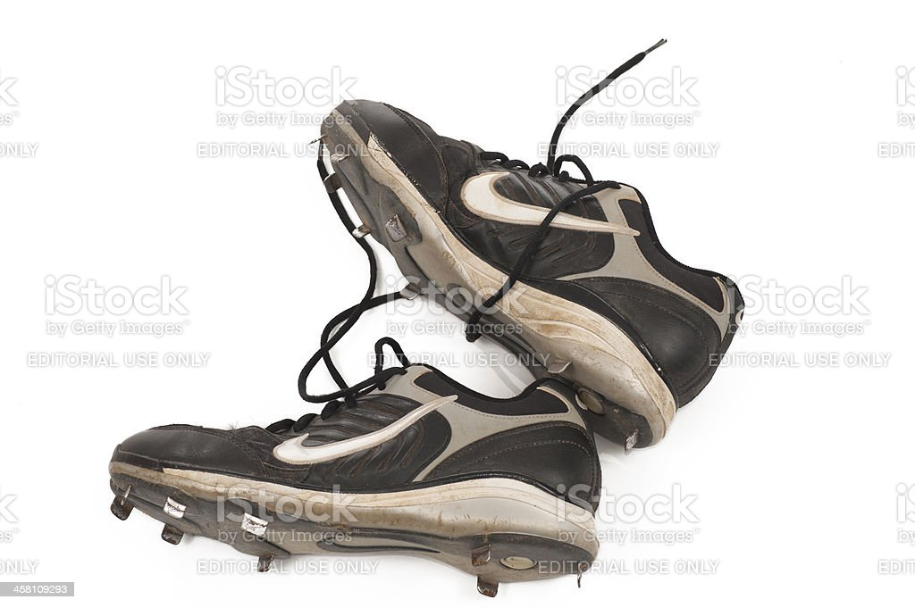 Dirty Nike Baseball Cleats stock photo