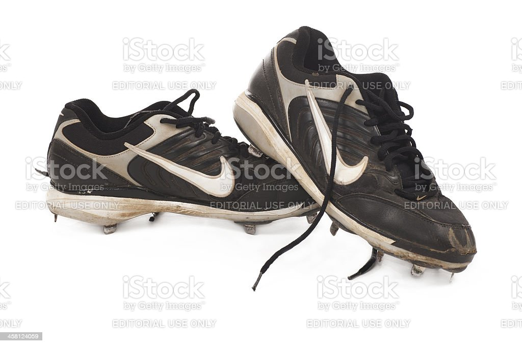 Dirty Nike Baseball Cleats royalty-free stock photo