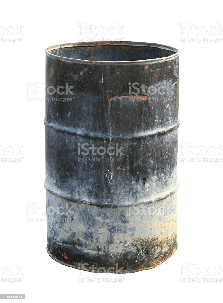 Dirty oil barrel stock photo