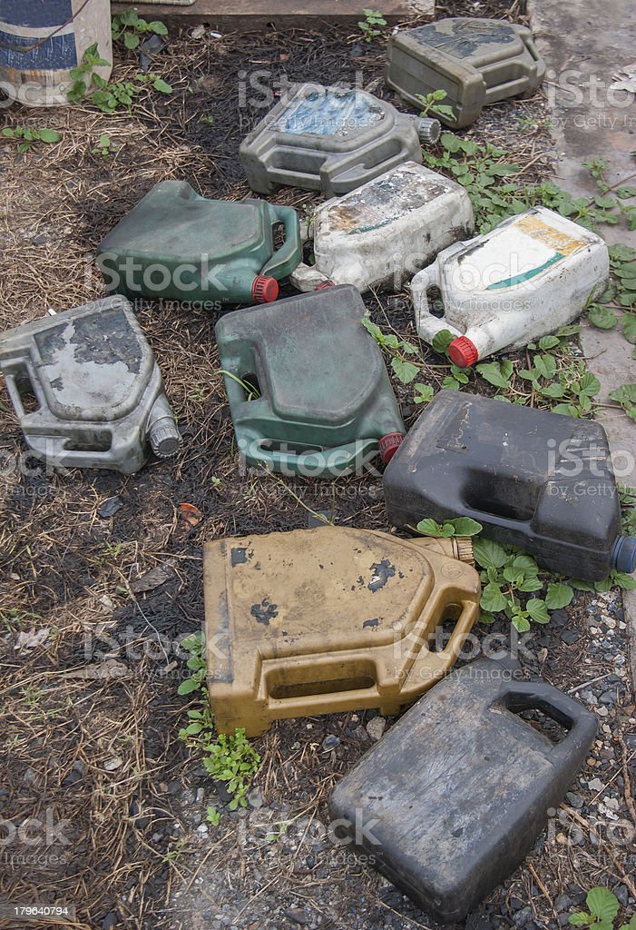 dirty oil container stock photo