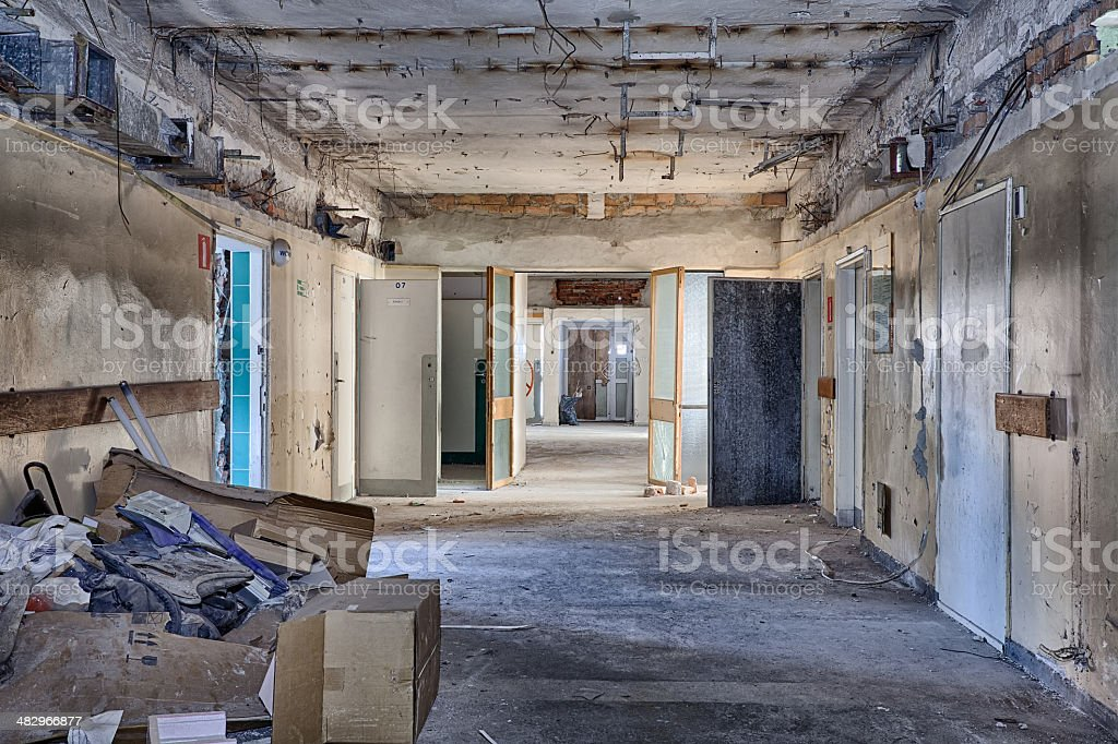 Dirty, old and forgotten corridor stock photo