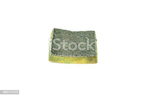 istock Dirty old dishwasher sponge on white background 483741370
