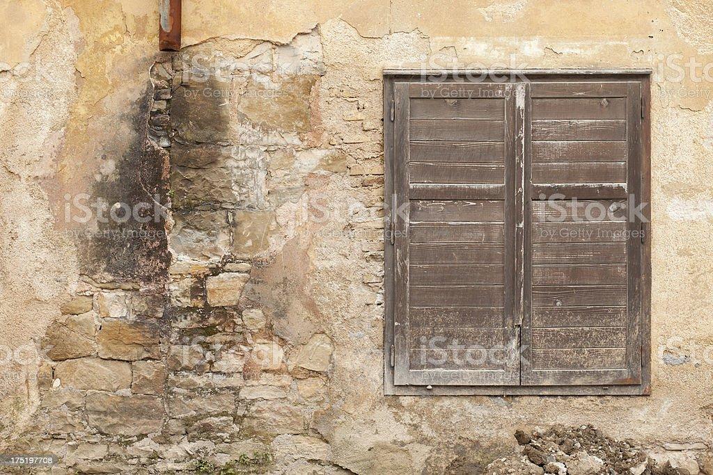 Dirty Old Facade (Broken Drainpipe) stock photo