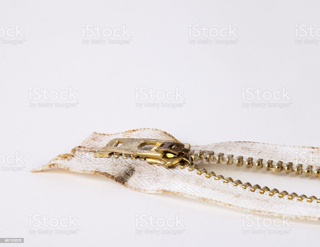 Dirty Old Zipper royalty-free stock photo