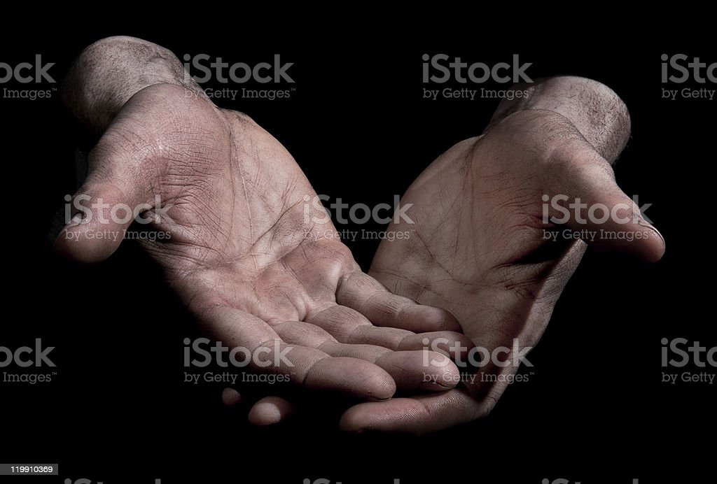 Dirty Outstretched Hands - Closed Fingers stock photo