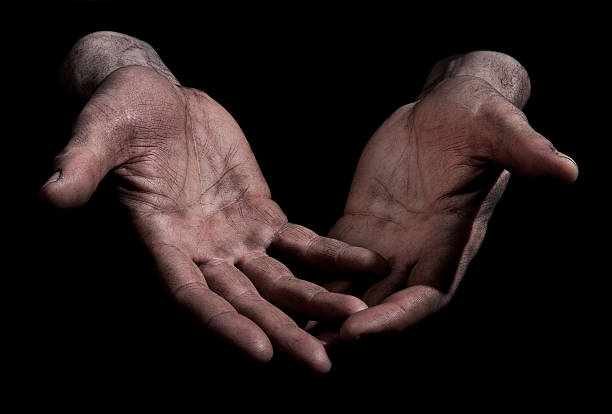 Dirty Outstretched Hands - Open Fingers stock photo