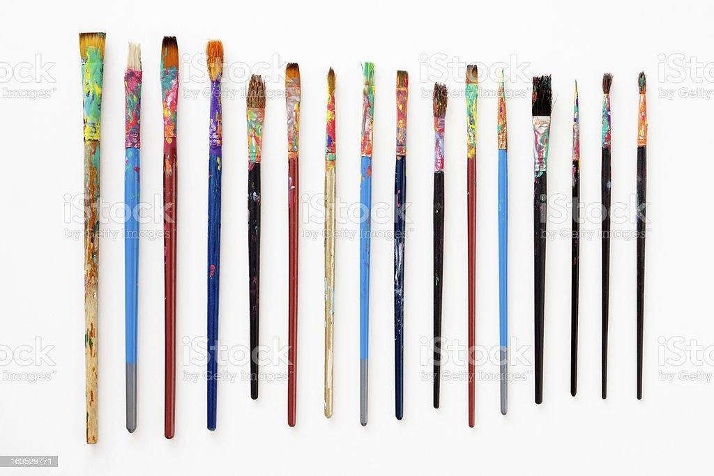 Dirty paintbrushes royalty-free stock photo