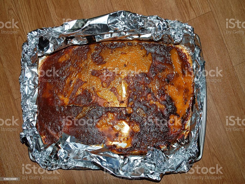 Dirty Pan with Tinfoil royalty-free stock photo