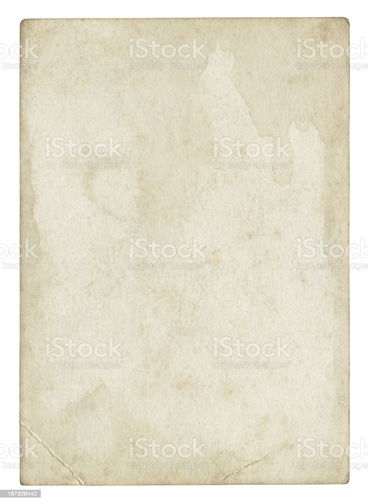 Dirty paper Isolated (clipping path included) royalty-free stock photo