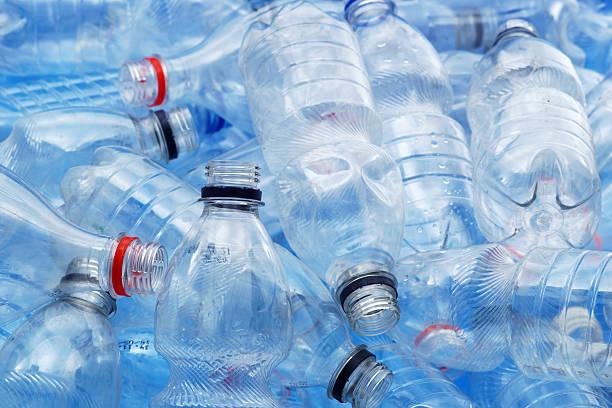 Dirty plastic bottles stock photo