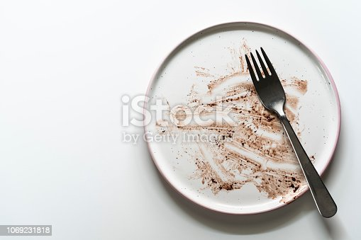 Dirty plate after a finished chocolate cake on white table