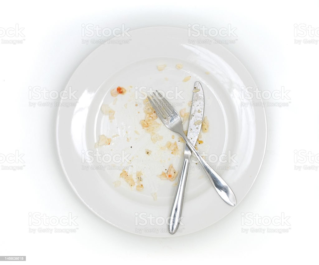 Dirty plate from above stock photo