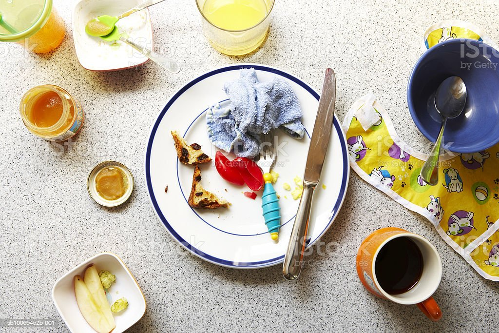 Dirty plate with knife and cup after breakfast, high angle view, close-up royalty-free stock photo