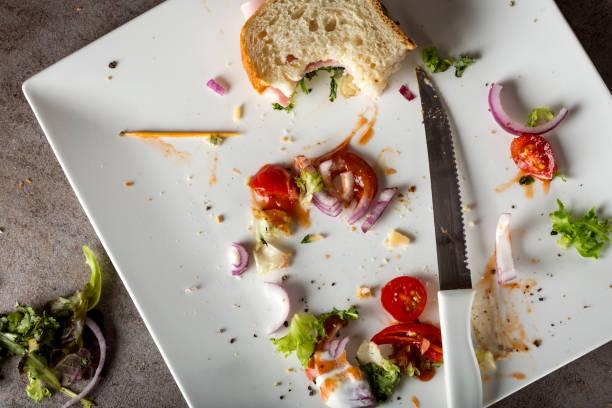 smutsiga tallrik med bitar av grönsallad och bitten smörgås - tallrik uppätet bildbanksfoton och bilder