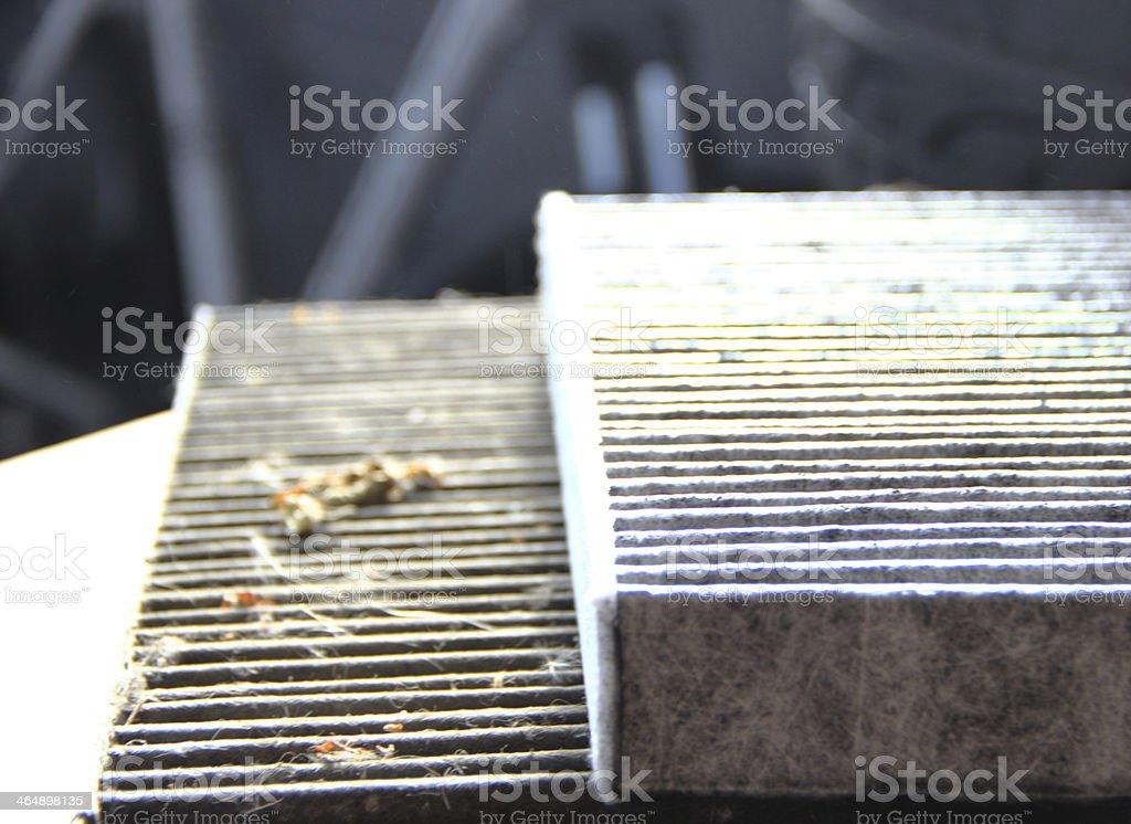 Dirty pollen filter stock photo