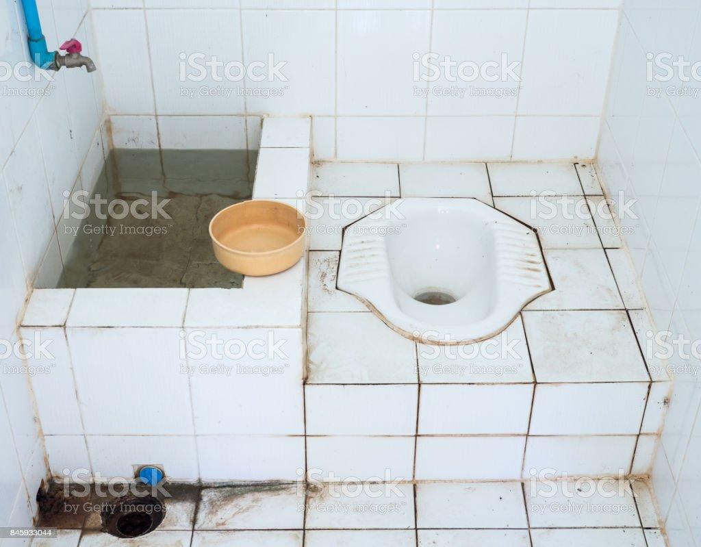 Dirty public toilet. stock photo