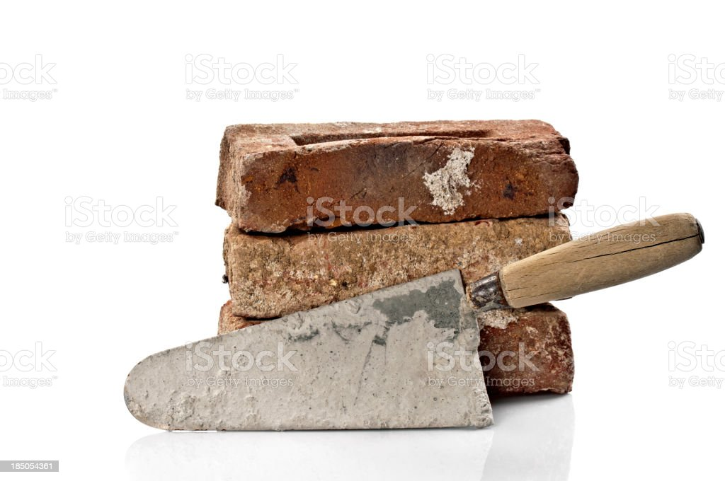 Dirty Red Brick and Trowel royalty-free stock photo