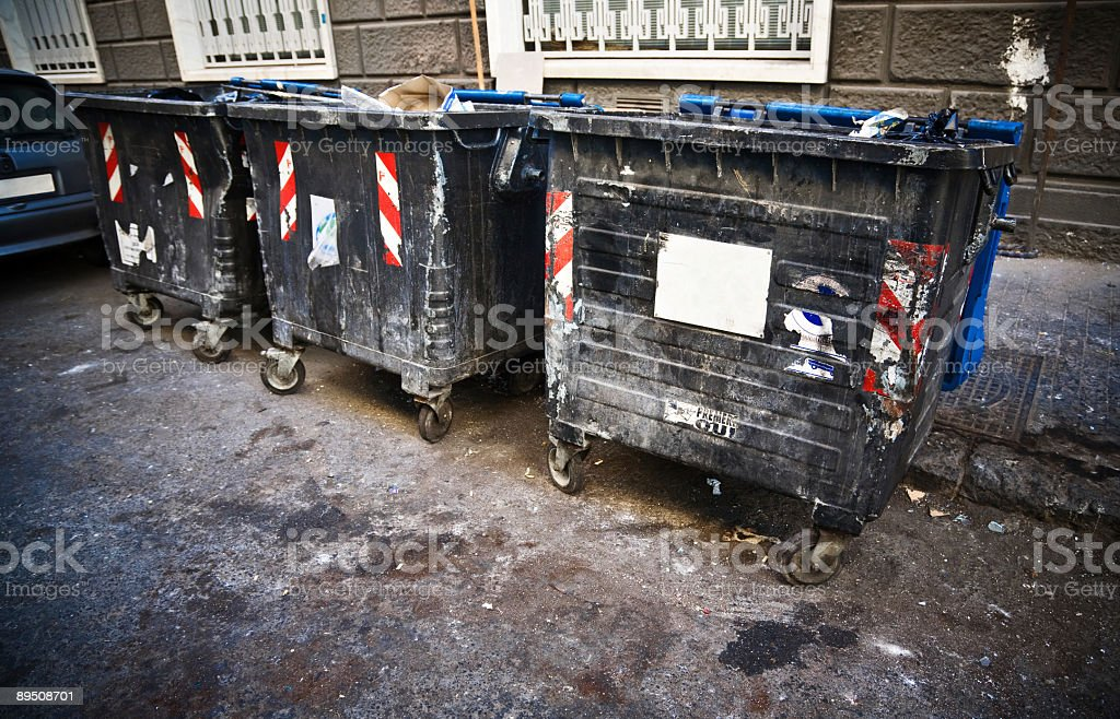 Dirty refuse bins royalty-free stock photo