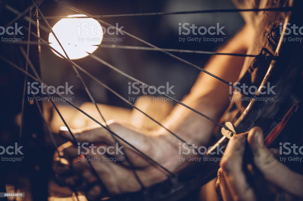 Dirty repairman hands stock photo