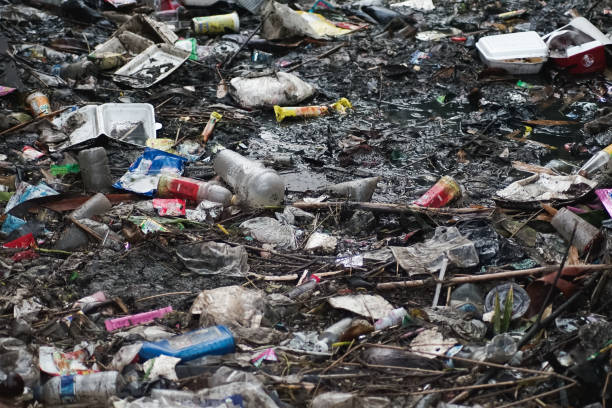 verschmutzte flüsse mit müll - windbeutel stock-fotos und bilder
