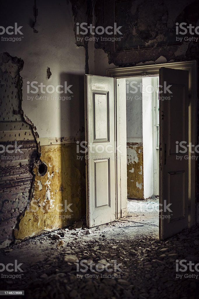 Dirty room in abandoned European villa.