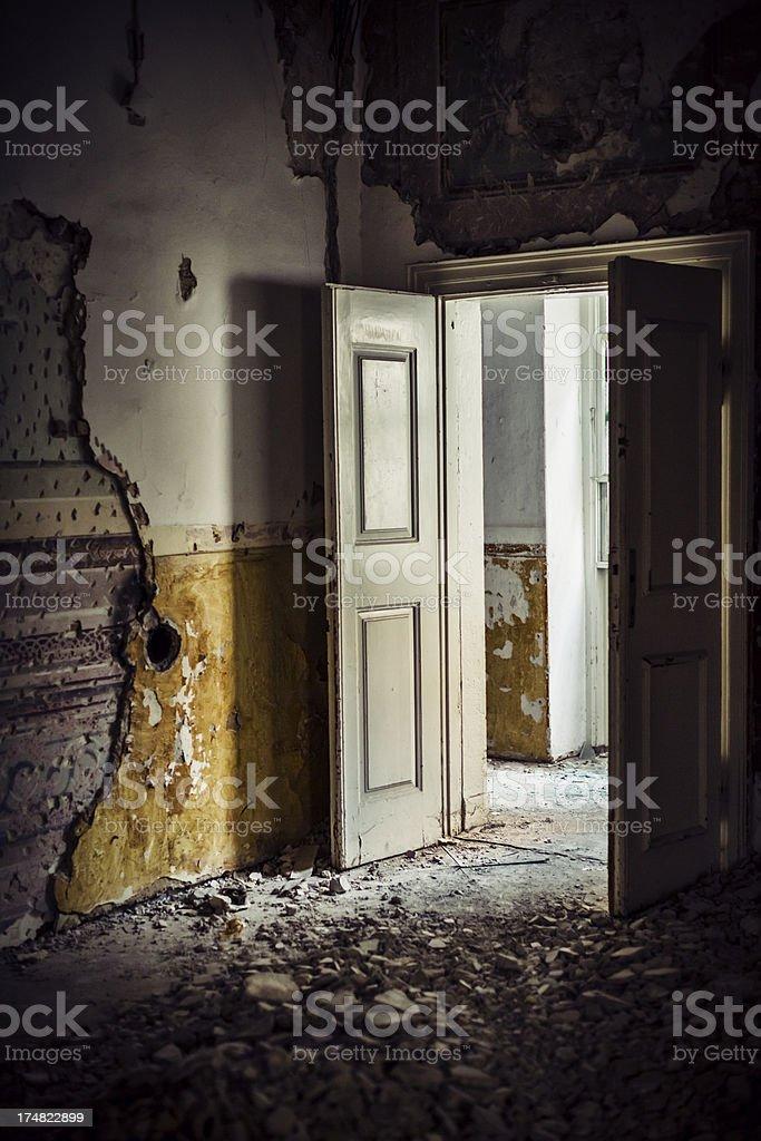 Dirty room in abandoned European villa stock photo