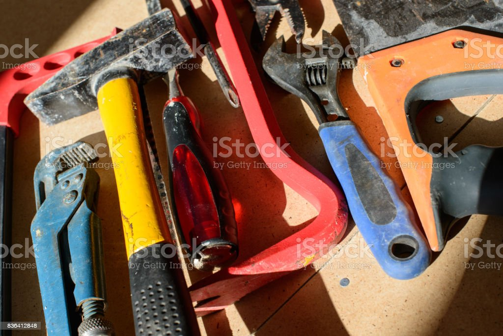 Dirty Set Of Hand Tools For House Repairs Stock Photo Download Image Now Istock