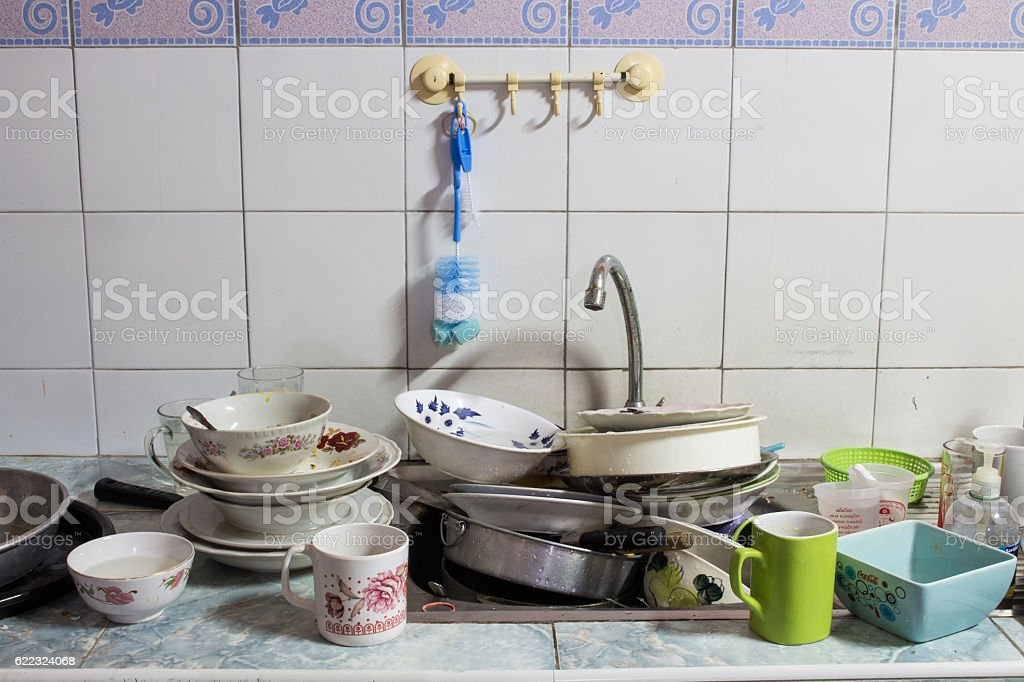 Dirty sink The dishes are not clean stock photo