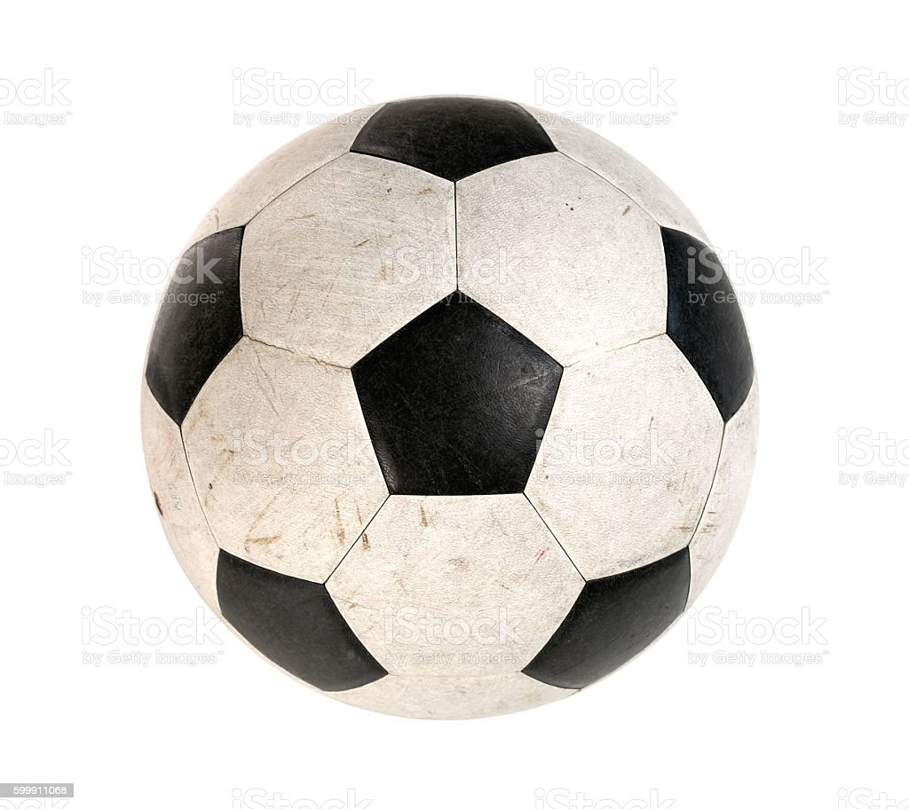 Dirty Soccer ball isolated on white background - foto de stock