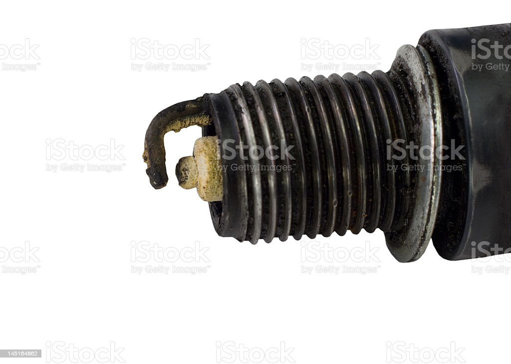 dirty spark plug on white royalty-free stock photo