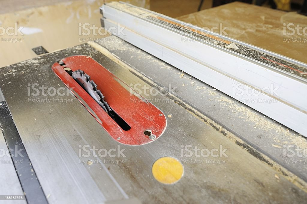 Dirty table saw with dado blade royalty-free stock photo