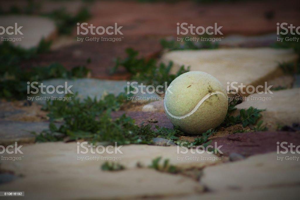 Dirty Tennis Ball on Paver Stones stock photo
