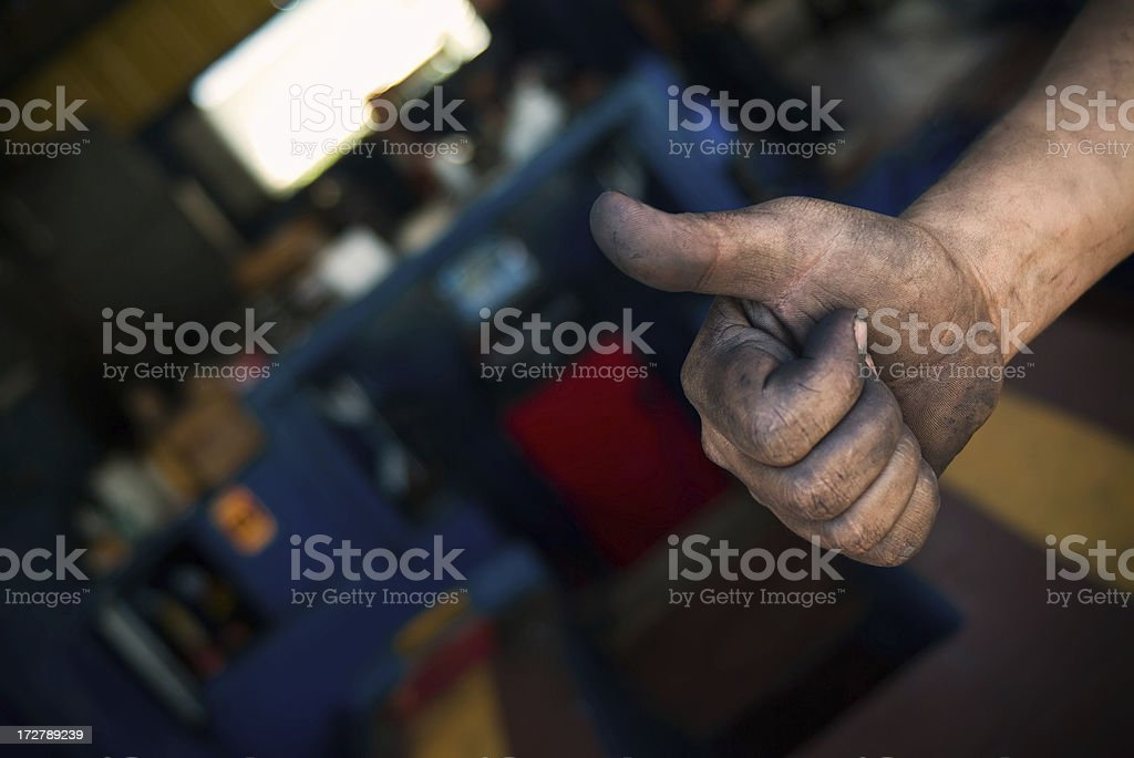 Dirty thumbs up royalty-free stock photo