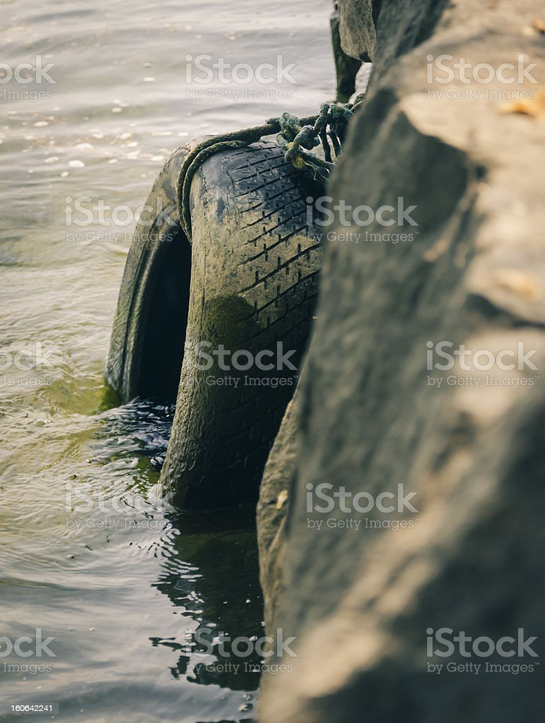 dirty tire immerged in water royalty-free stock photo