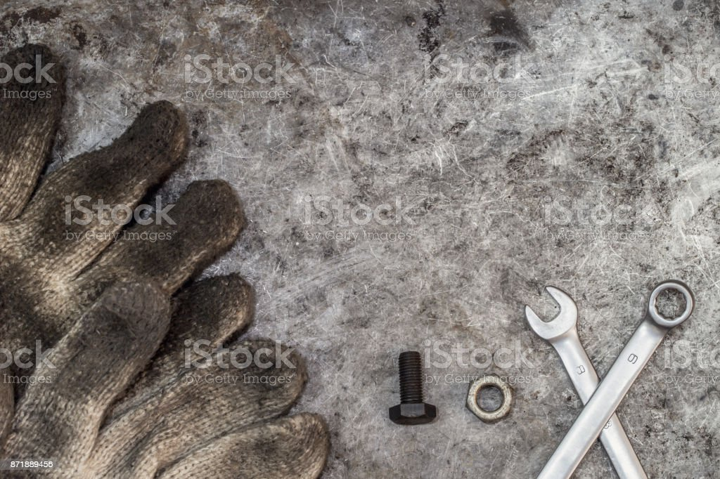 dirty tools handyman workshop nut and bolt for fix concept background stock photo