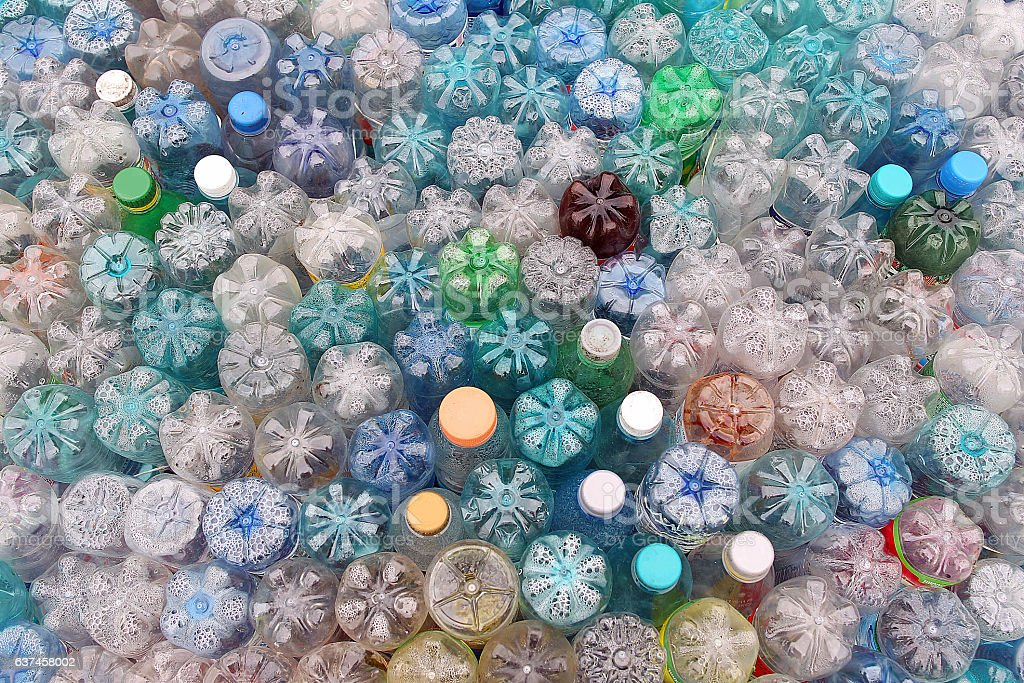 Dirty used colored plastic bottle pile royalty-free stock photo
