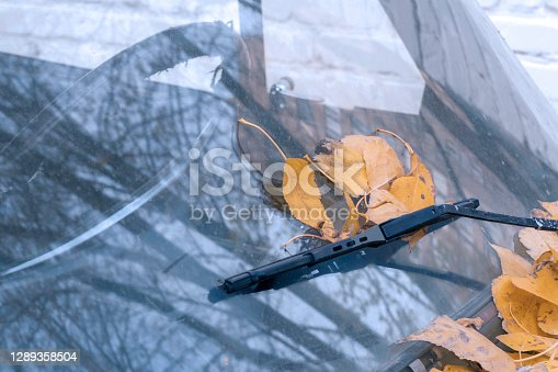 istock Dirty windshield with wipers and autumn yellow leaves. Autumn season. Selective focus. 1289358504