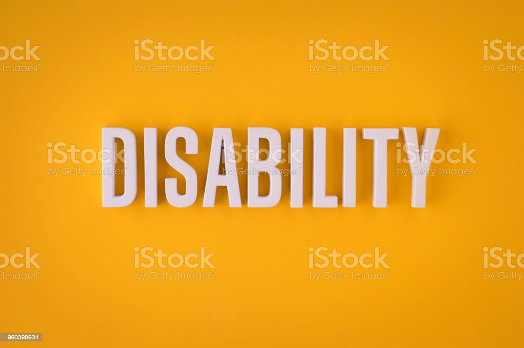 Disability lettering sign stock photo