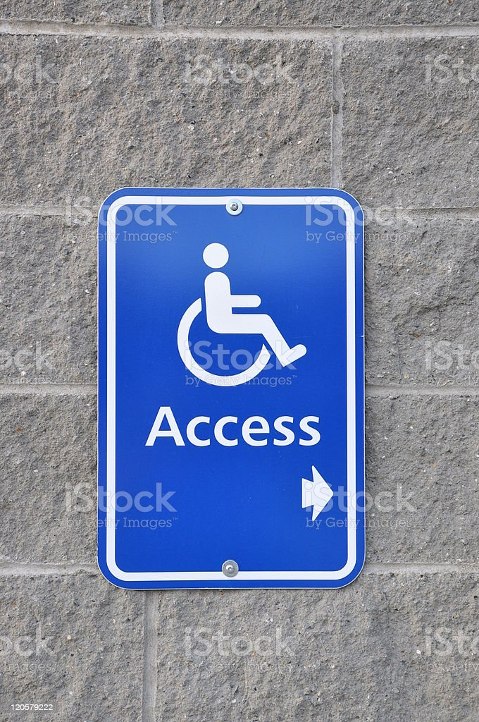 Disable access sign on wall royalty-free stock photo