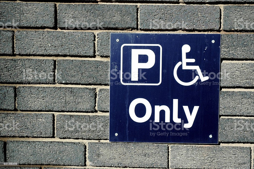 Disable parking only sign royalty-free stock photo