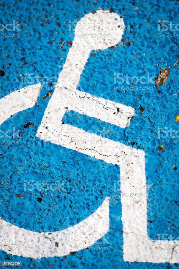 Disable parking symbol on tarmac stock photo