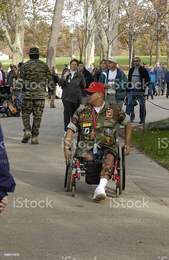 Disabled American Marine Veteran Amputee in Wheel Chair stock photo