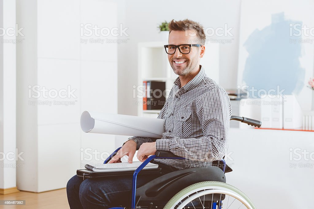 Disabled Architect Working In An Home Office Stock Photo & More ...