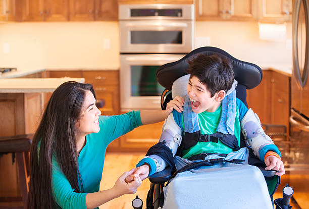 Disabled boy in wheelchair laughing with teen sister in kitchen picture id580115822?b=1&k=6&m=580115822&s=612x612&w=0&h=kmpwi6bhqnbxh2slsxpeyam mabgukxtqbz1wnwhcvc=