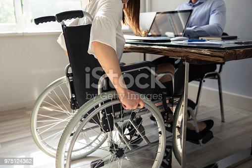 1144373653 istock photo Disabled Businesswoman Sitting On Wheelchair 975124362