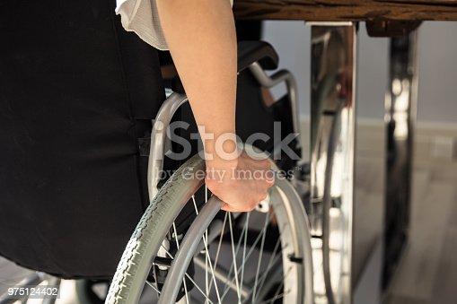 1144373653 istock photo Disabled Businesswoman Sitting On Wheelchair 975124402